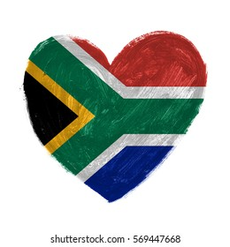 Hand drawn heart with flag of South Africa.