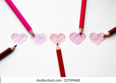 Hand drawn hearts with pencils