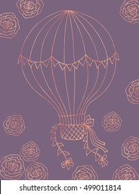 Hand drawn illustration card template, mauve and rose gold foil. Air balloon and flowers