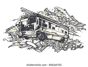 Hand drawn illustration or drawing of an urban bus and different symbols in a tattoo style