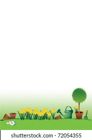 A hand drawn illustration of an easter garden scene with yellow daffodils, a topiary tree, a watering can, broken plant pots and a small garden fork. White eggs are set to the foreground.