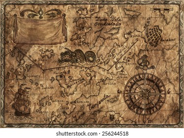 Hand drawn illustration of old pirate map with desaturated effect on grunge paper background