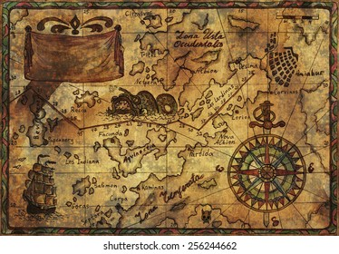 Hand drawn illustration of old pirate map with fabric texture and desaturated effect