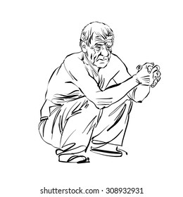 Hand drawn illustration of an old squatting man, black and white drawing.