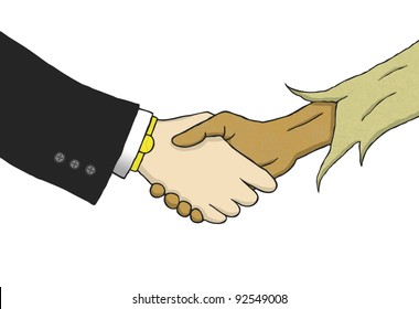 Hand drawn illustration that shows a handshake between a wealthy white man in suite and a poor black man in rags.