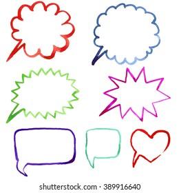 hand drawn illustration of watercolor speech bubble