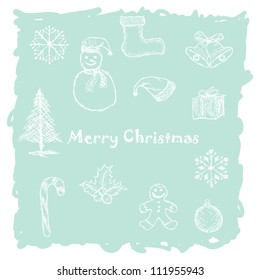 hand drawn illustration of white christmas icons, elements in light-blue background.