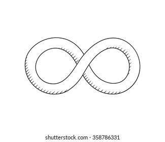hand drawn Infinity symbol. Creative concept sketch