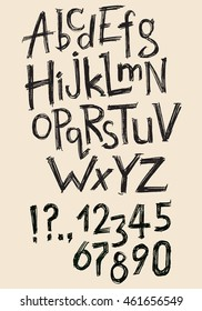 hand drawn latin alphabet, numbers and punctuation marks