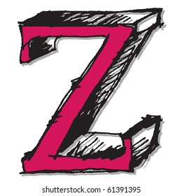 hand drawn letter Z isolated on white background