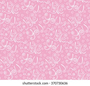 Hand drawn lettering I Love You in pink Valentine Day seamless pattern, romantic background