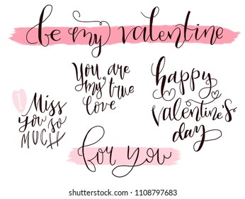 Hand drawn lettering set isolated on white background. Valentine and love phrases
