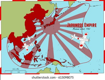 Hand drawn map of Japanese Empire at it's largest extent in 1942. Map features vintage aircraft drawings. All Original Illustrations.