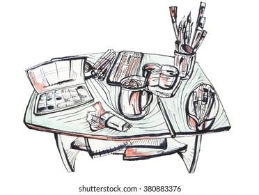 hand drawn marker sketch of artist workplace