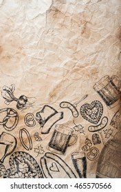 Hand drawn Octoberfest symbols on old rumpled paper background