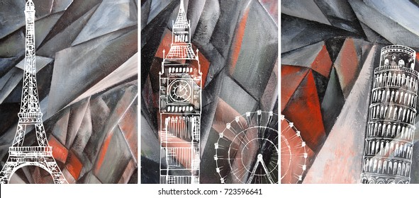 Hand drawn oil painting - triptych. Abstract art background on canvas. London, Paris, Pisa. Travel. In Interior Modern, Contemporary art. Red geometric