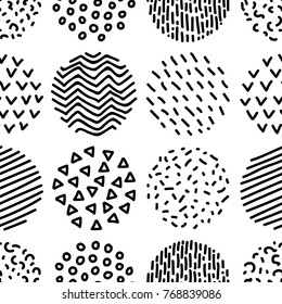 Hand drawn patterned circles geometric seamless pattern in black and white, vector background