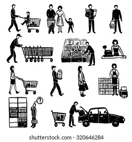 Hand drawn people doing shopping in supermarket black decorative icons set isolated  illustration