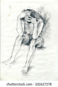 Hand drawn picture - pencil technique. Human emotions.