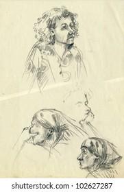 Hand drawn picture - pencil technique, sketches. A few faces.
