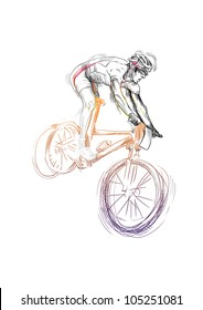 Hand drawn picture. Sport theme. This is a cyclist (mountain Bike).