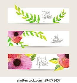 Hand drawn pink and green watercolor floral templates