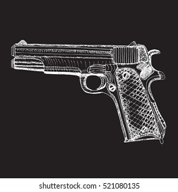 Hand drawn  pistol. Ink sketched.