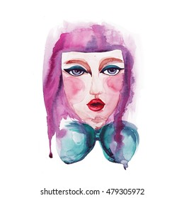 Hand drawn portrait of the young girl. Watercolor illustration of fashionable style. On a white background