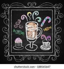 Hand drawn restaurant menu elements. Chalk on board. Cup of coffee.  illustration.