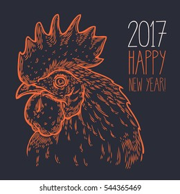 Hand drawn rooster cock head illustration. Farm animals, Vintage engraving style. Sketch chicken portrait isolated on white background. Symbol of new year 2017