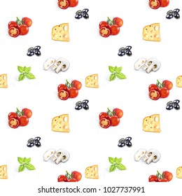 Hand drawn seamless background with pizza ingridients