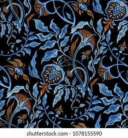 Hand Drawn seamless pattern of Abstract Flowers