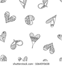 Hand drawn seamless pattern, decorative stylized black and white childish hearts. Doodle sketch style, graphic illustration, background. Ornamental cute hand drawing. Line drawing.