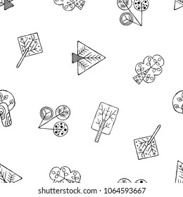 Hand drawn seamless pattern, decorative stylized black and white childish trees. Doodle sketch style, graphic illustration, background. Ornamental cute hand drawing. Line drawing.