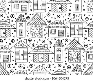 Hand drawn seamless pattern, decorative stylized black and white childish houses. Doodle sketch style, graphic illustration, background. Ornamental cute hand drawing. Line drawing.
