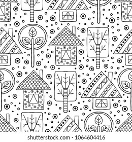 Hand drawn seamless pattern, decorative stylized black and white childish houses, trees. Doodle sketch style, graphic illustration, background. Ornamental cute hand drawing. Line drawing.