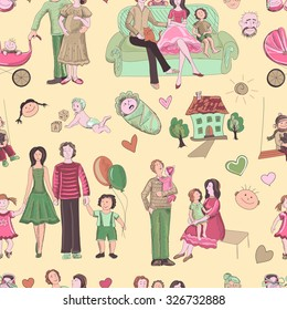 hand drawn seamless pattern with happy families. Home, children, happiness, parents, sun, love, stroller, baby