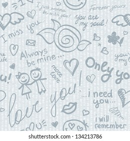 hand drawn seamless pattern with inscriptions about love