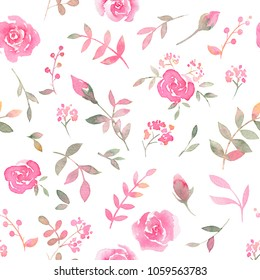 Hand drawn seamless pattern with watercolor rose flowers. Elegant romantic background with pink roses and leaves on a white background