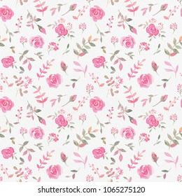 Hand drawn seamless pattern with watercolor rose flowers. Elegant romantic background with pink roses and leaves on a paper texture background