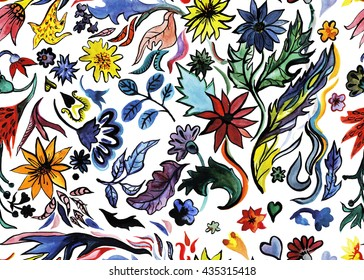 Hand drawn seamless pattern watercolor bouquets with black ink outline.
