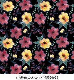 Hand drawn seamless pattern watercolor bouquets and floral elements on black background.