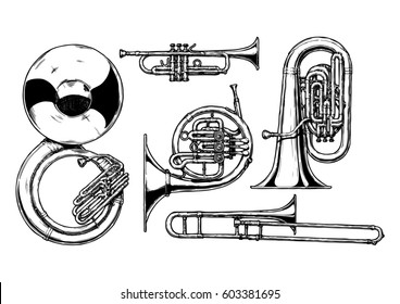 hand drawn set of brass musical instruments. Sousaphone, trumpet, french horn, tuba and trombone.