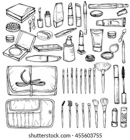 Hand drawn set of Makeup products. Cosmetics and make up case with brushes. doodles of cosmetic cream, lipstick, powder, eye shadow, blush an make up brushes.