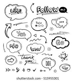 Hand drawn set of speech bubbles with dialog words Hello, Follow, like, Yes, Me, No, Rate, Go, Bye Hi. Arrows and lines.