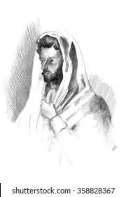 Hand drawn sketch of Apostle Paul portrait