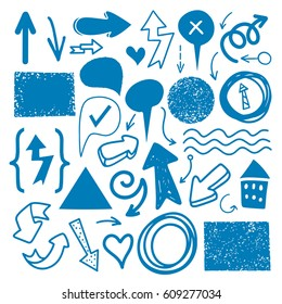 Hand drawn sketch blue marker signs, arrows, lines, shapes, handwritten, design elements set isolated on white background