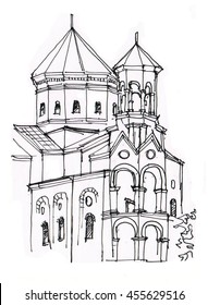Hand drawn sketch of cathedral