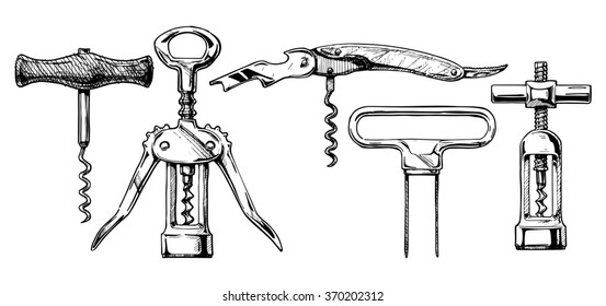 hand drawn sketch of corkscrew set in ink hand drawn style. types: basic corkscrew,  wing, sommelier knife, butler's friend, continuous turning. isolated on white.