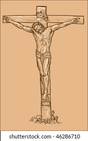 hand drawn sketch illustration of Jesus Christ hanging on the cross with white highlights.